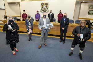 Front from left to right: Lorraine Anstey, Mayor Cllr Diane Taylor, Darren Lamb of 4 Kingdoms, Mayor's Consort Dr Andy Taylor and Mike Bowler. Back from left to right: from 4 Kingdoms Bon Tathong, Darrell Warren, Ashleigh Crouch and Jordan Hiscock.