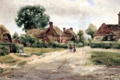 Milkingpen Lane, from oil painting